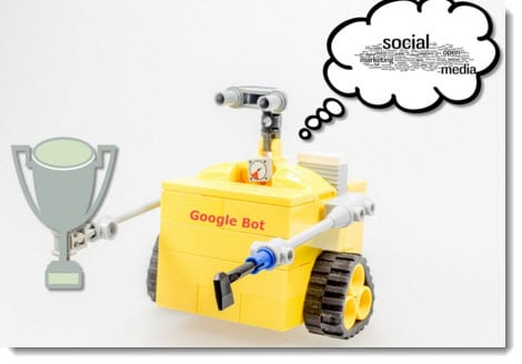 A yellow robot with a Google Bot writing on its chest