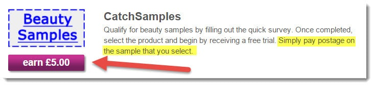 Cash Samples Offer - earn £5 but you have to pay postage