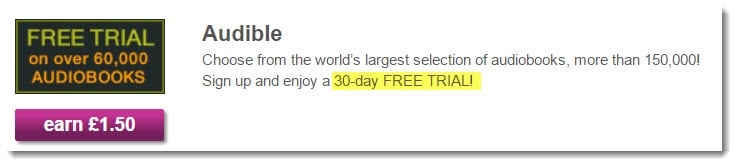 Offer from Audible - earn £1.50 for 30-day free trial