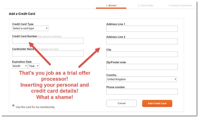Screenshot of an example of how you fill up trial offer forms. Your credit card and other personal data