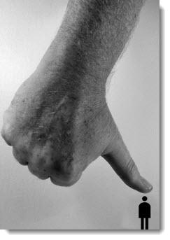 Hand smashing person