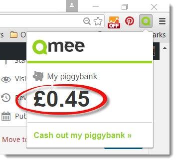 The money (£0.45) on my Qmee account