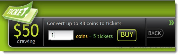 Convert coins to tickets