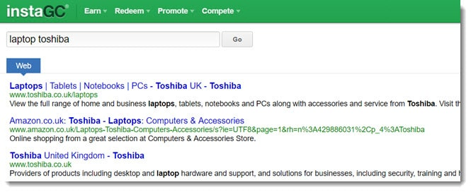 InstaGC search engine