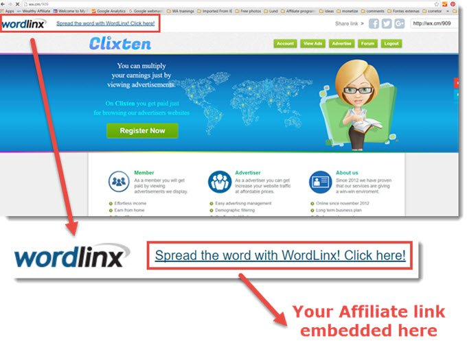 Clixten's website with Wordlinx logo and affiliate link on the top of the page