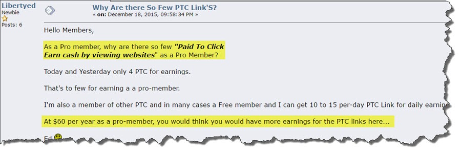 "Comment from a frustrated member ""As a Pro member, why are there so few ads?"""