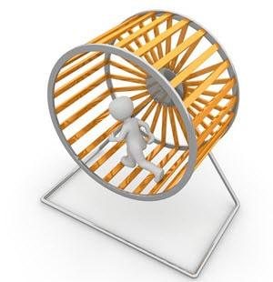 rat race - man inside the rat wheel