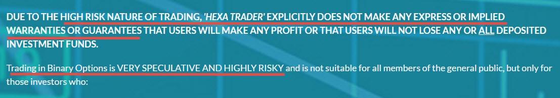 hexa trader's risk disclaimer