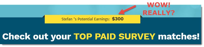 Potential earning: $300