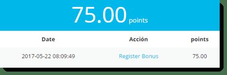 sign up bonus of 75 points