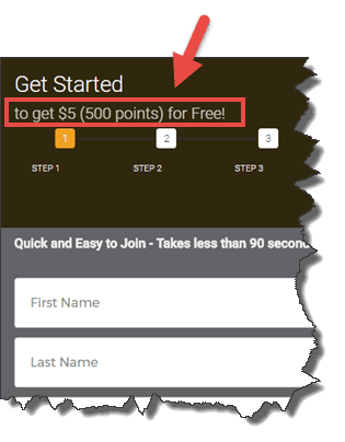 sign up form - Get $5 for free