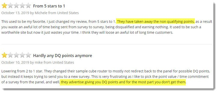 User reviews - DQ points