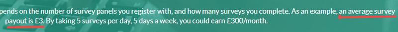 average survey payout