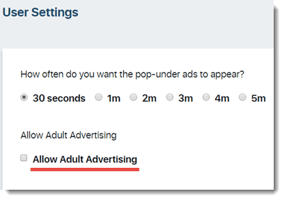 user settings adult ads
