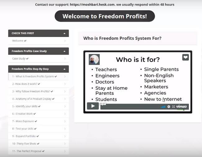 freedom profits members area