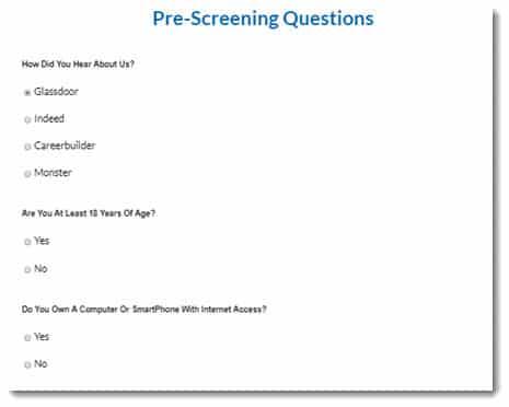 pre-screening questions
