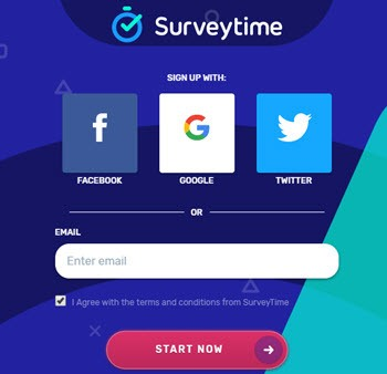 surveytime signup page