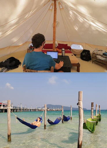 working from a teepee