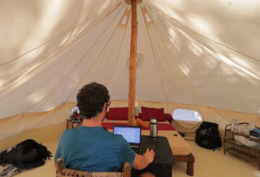working from a tepee