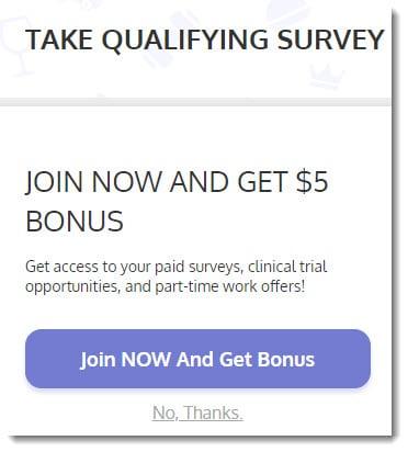 take qualifying survey