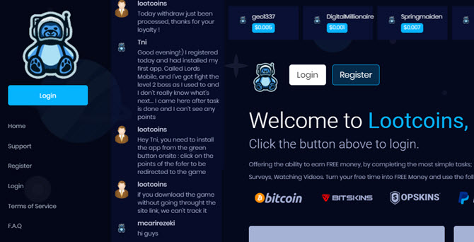lootcoins.gg homepage