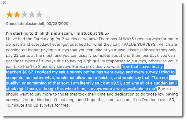 negative review about Eureka app